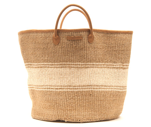 AFYA: Natural and White Stripe Woven Laundry Basket
