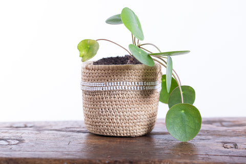 NYEUPE: White Beaded Doum Palm Leaf Baskets