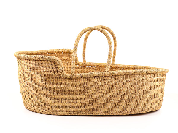 DIDI: Vegan Friendly Natural Woven Moses Basket with Plain Handles