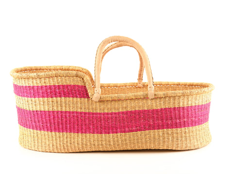 MTOTO: Bright Pink Stripe Moses Basket