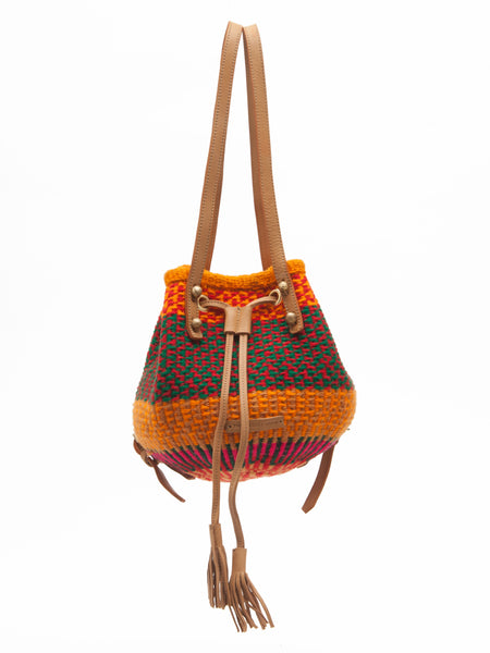 MLANGO: Handwoven Red, Orange and Green Backpack