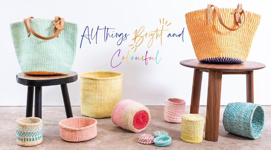 Woven Colour Block Baskets