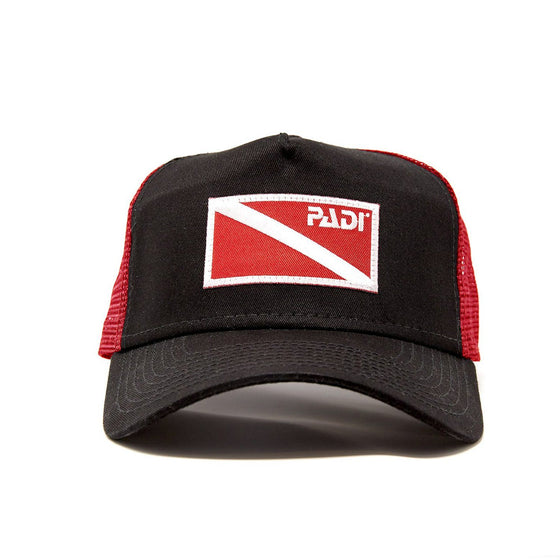 Cap - Diver Down Trucker Hat Black/Red With Red/White Flag
