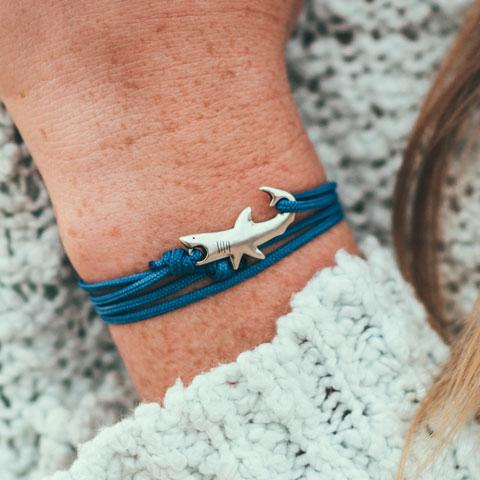 Jewelry - Great White Shark Bracelet - Sterling Silver/Navy