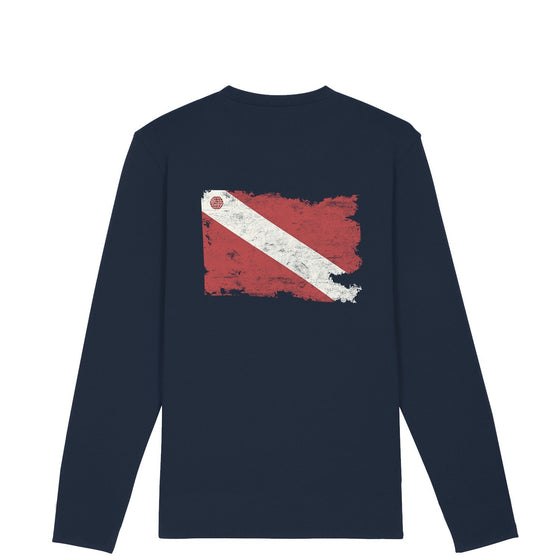 Long Sleeve Tee - Men's Organic Torn Dive Flag Longsleeve Tee – Navy