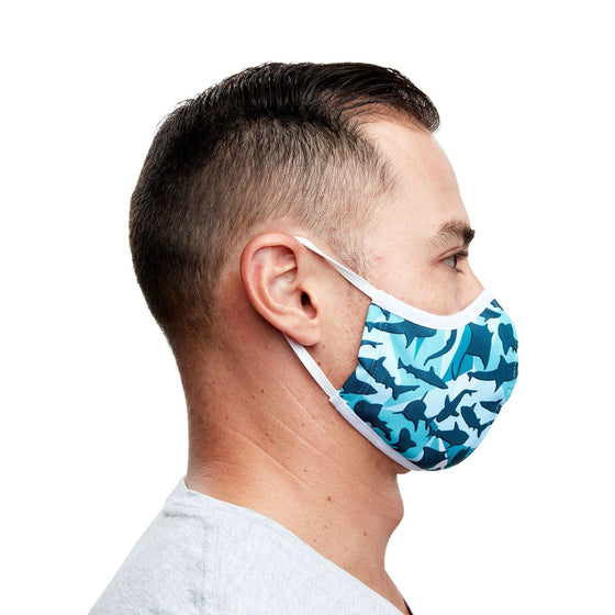 Mask - Geometric Shark Recycled Plastic Cloth Face Mask + 5 Filters