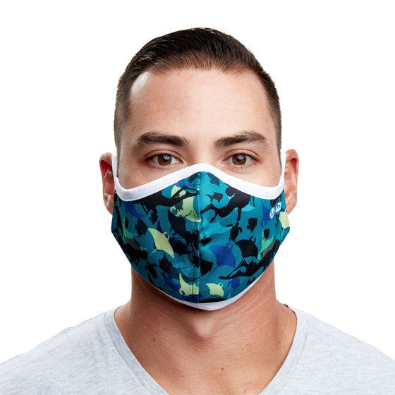 Manta Ray & Scuba Diver Recycled Plastic Face Mask with Filter Pocket + 5 Filters | Reusable, Washable, Eco-Friendly