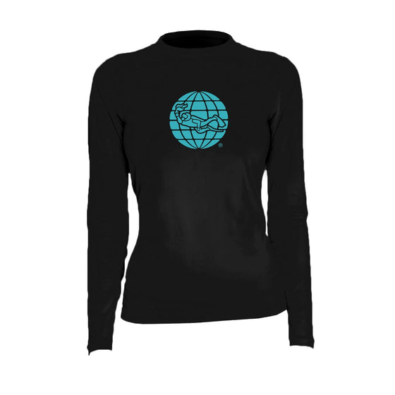 Rash Guard - PADI Globe Women's Rashguard - Black