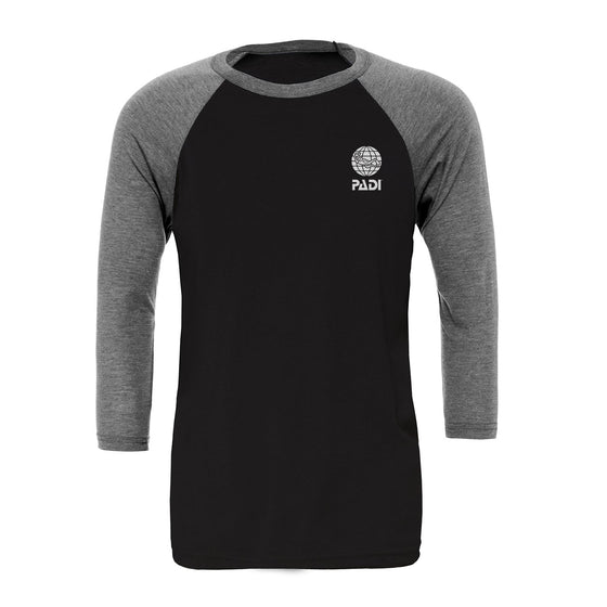 T-Shirt - Men's Baseball Tee - Black / Dark Heather Grey
