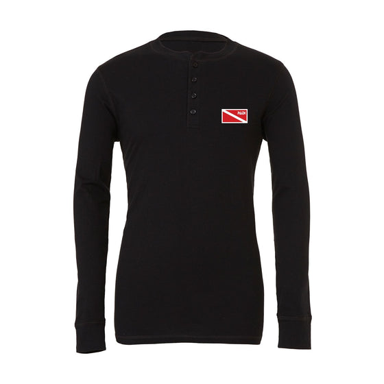 T-Shirt - Men's Black Diver Down Henley Long Sleeve Tee - Black