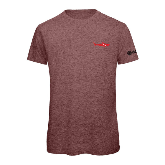 T-Shirt - PADI Dive Flag Shark-Black Heather Cranberry
