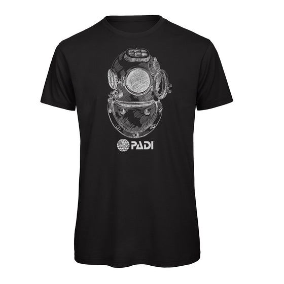 T-Shirt - PADI Vintage Diving Helmet Tee - Black