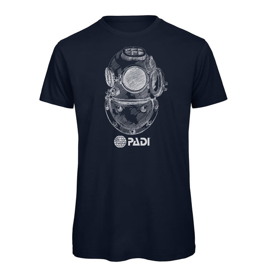 T-Shirt - PADI Vintage Diving Helmet Tee - Navy