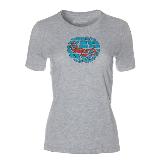 T-Shirt - Scribble Globe Tee - Heather Grey