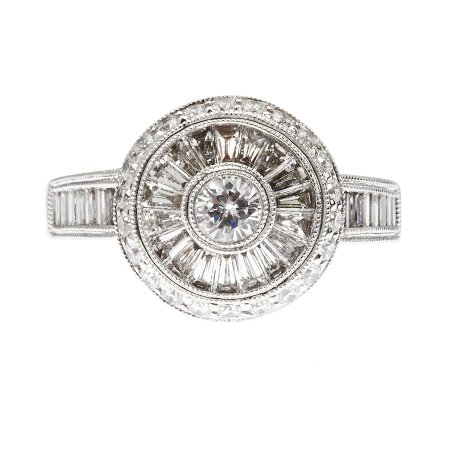 Baguette and Taper-cut Diamond Round Cluster Ring