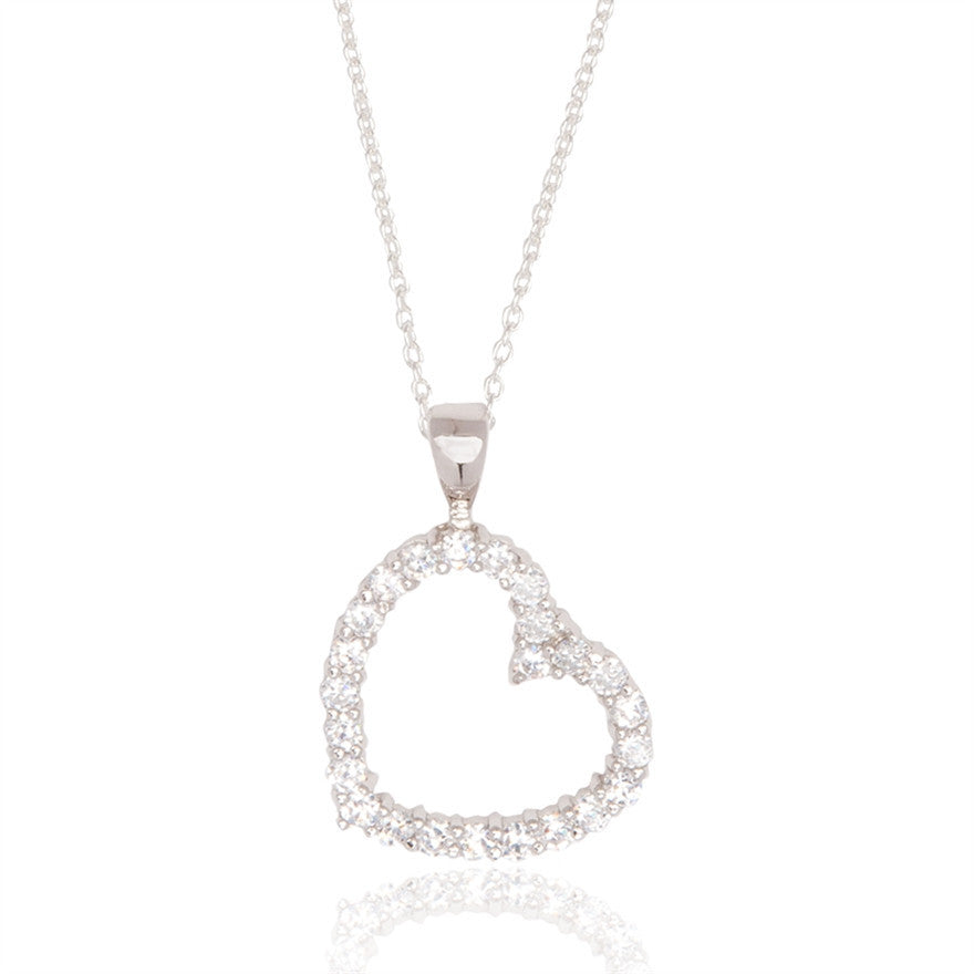 Open Heart Cubic Zirconia Necklace