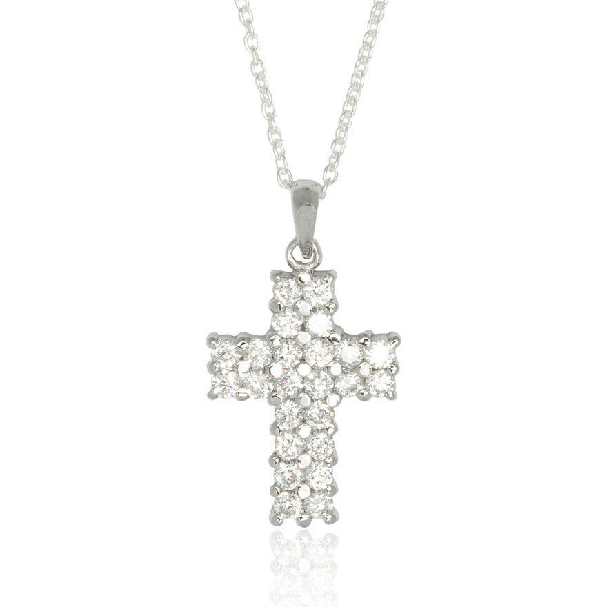 Cross Shaped Cubic Zirconia Necklace