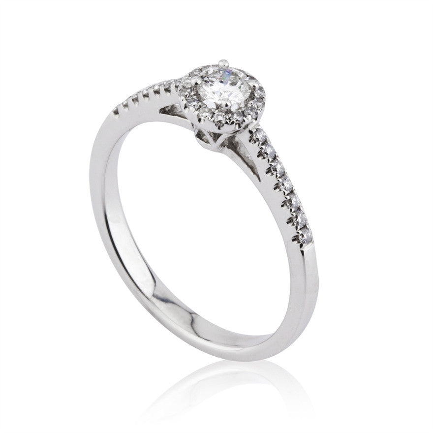 Diamond Cluster Ring With Shoulder Stones