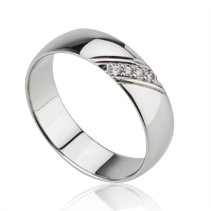Palladium & Diamond Band Ring