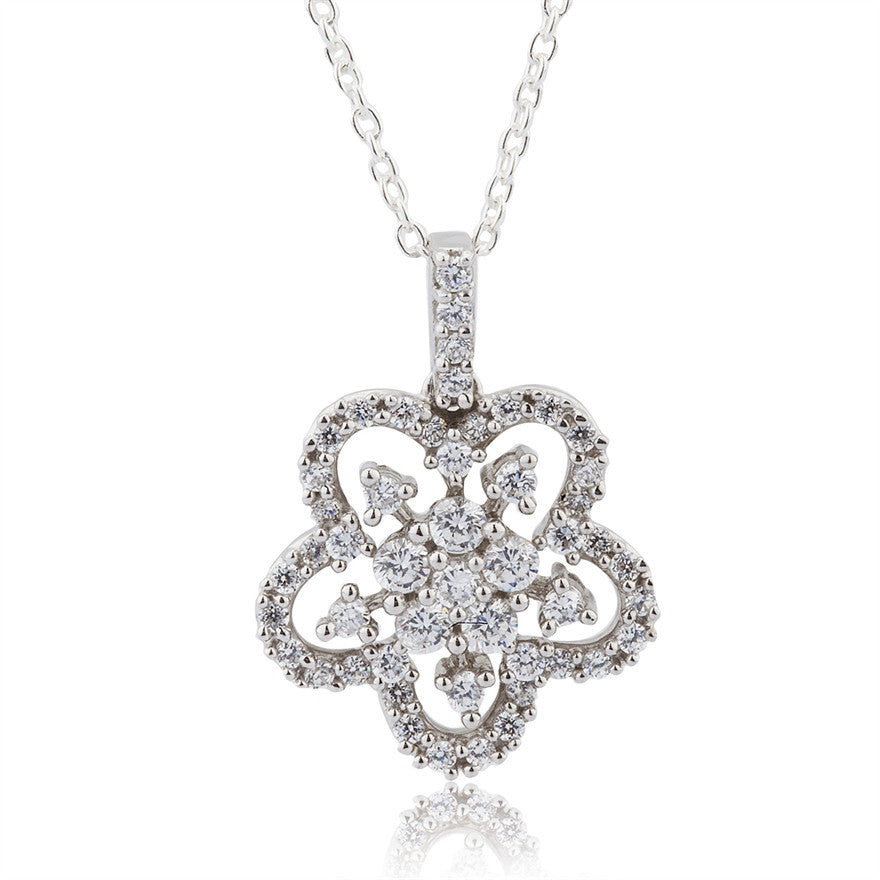 Sterling Silver And Cubic Zirconia Flower Necklace