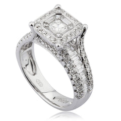 Diamond Cluster Ring With Channel And Claw Set Shoulders