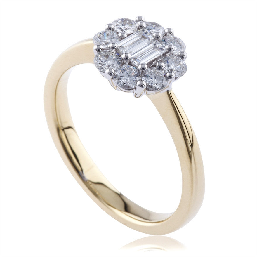 Baguette And Round Brilliant Diamond Cluster Ring
