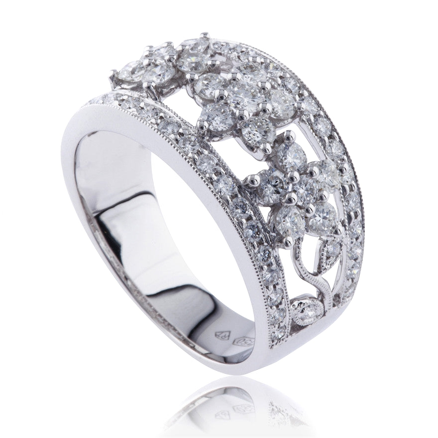 Diamond Floral Dress Band Ring
