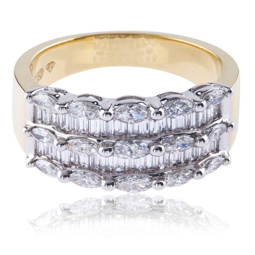 Marquise and Baguette Diamond Dress Ring