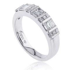 Princess and Baguette-Cut Diamond Band