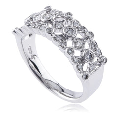 Round Brilliant Diamond Cut-out Dress Ring