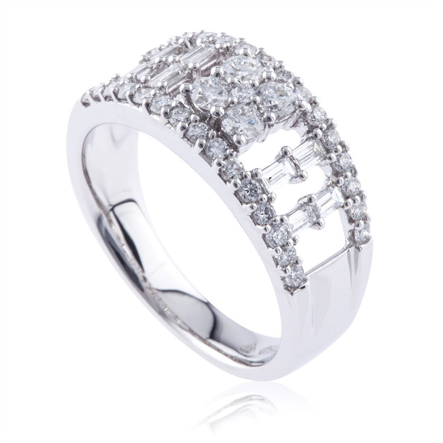 Round Brilliant And Baguette Diamond Dress Band