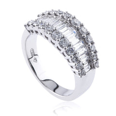 Baguette and Round Brilliant Diamond Dress Ring