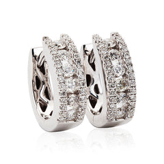 Mixed Diamond Cut Diamond Hoop Earrings