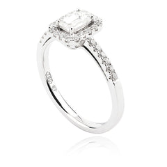 Emerald Cut and Round Brilliant Diamond Ring with Halo