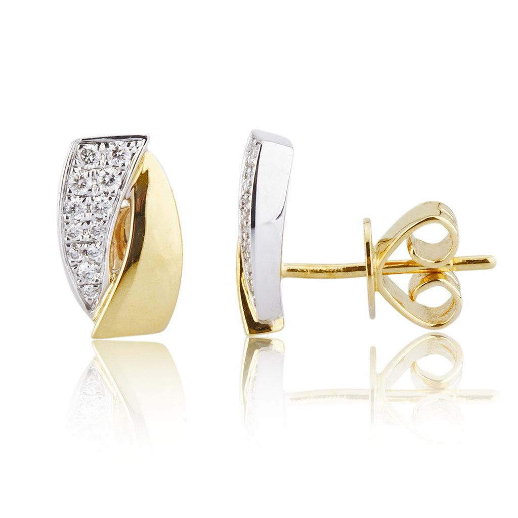Yellow & White Gold Barrel Shaped Studs