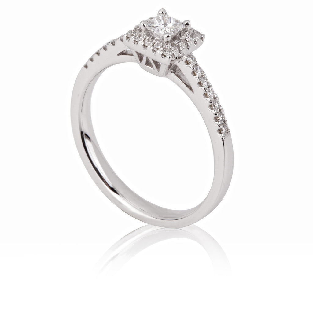 Square Set Diamond Cluster Ring With Halo And Side Stones