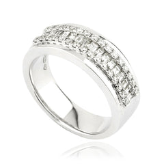 Baguette and Round Brilliant Diamond Dress Band Ring
