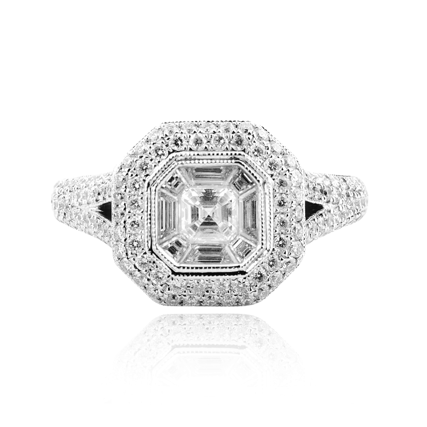 Taper and Emerald Cut Cluster Diamond Ring