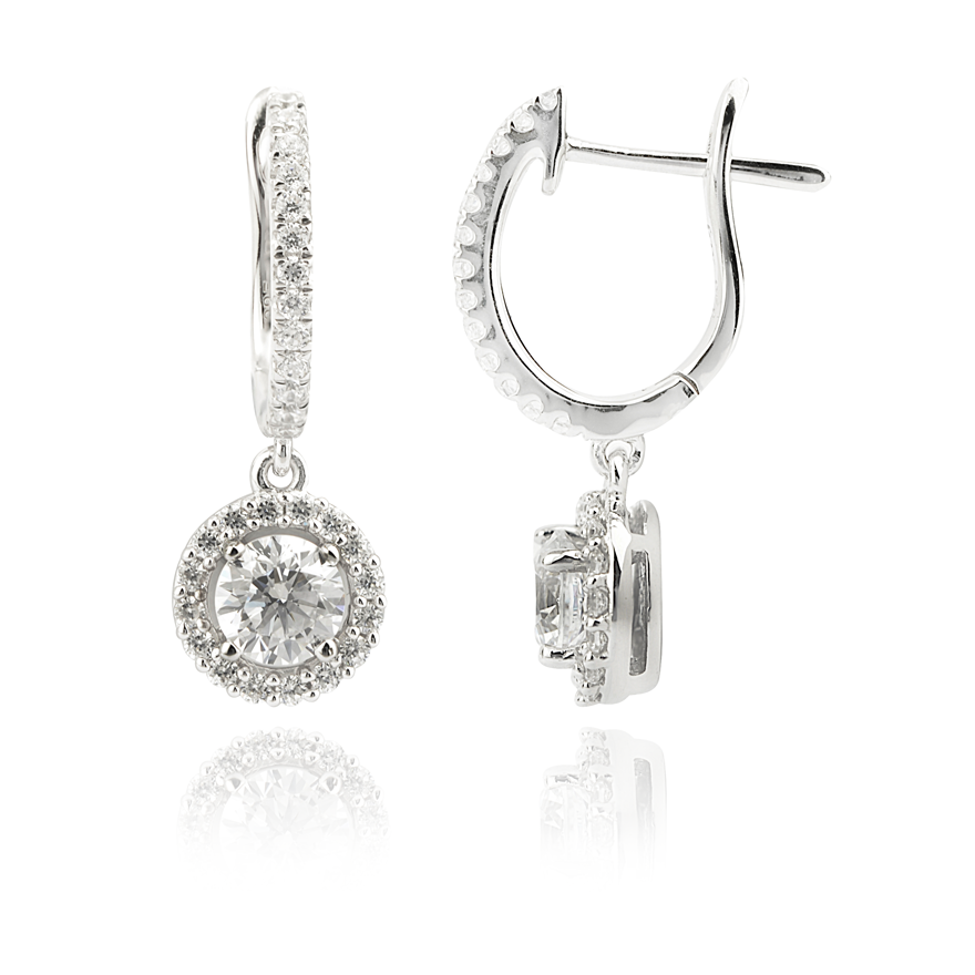 Cubic Zirconia Drop Earrings with Halo