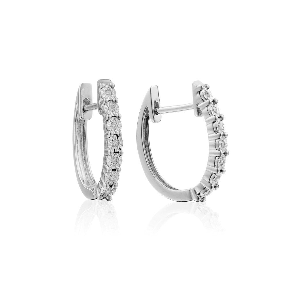 9K White Gold Diamond Hoop Earrings (half pair)