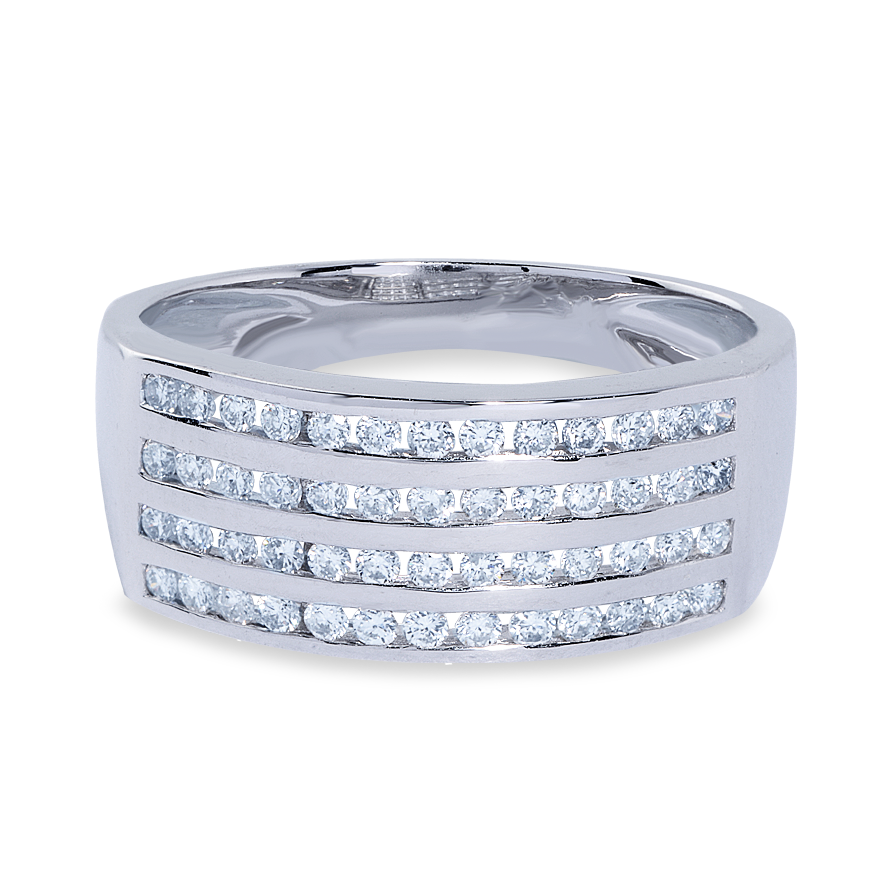Four Row Diamond Dress Ring