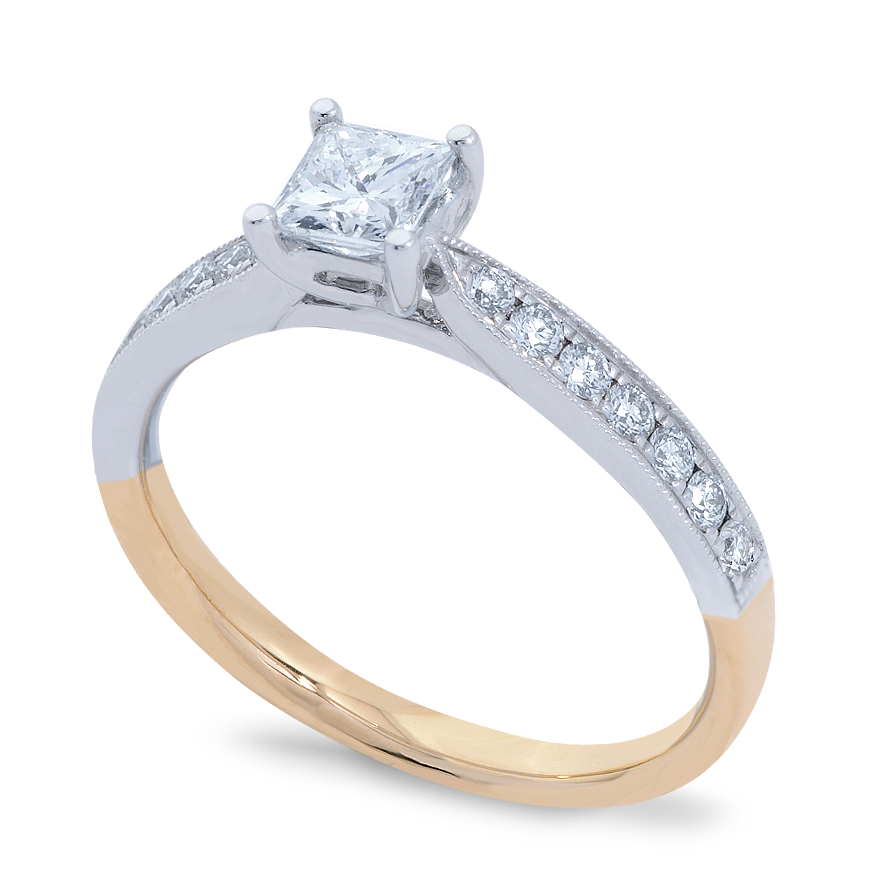 Diamond Solitaire Ring with Side Stones