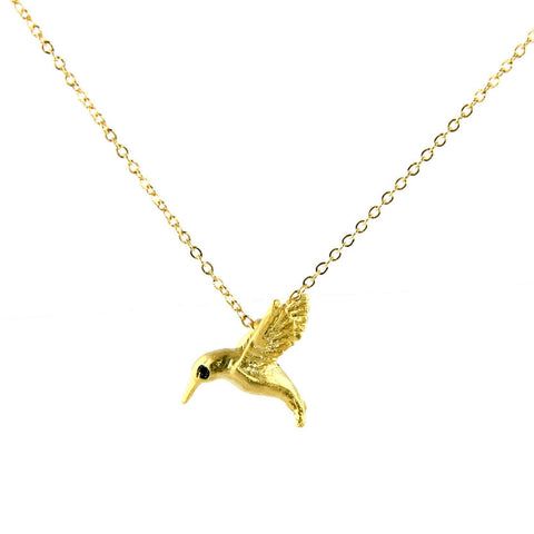 Vermeil Hummingbird Pendant Black Diamond Eyes