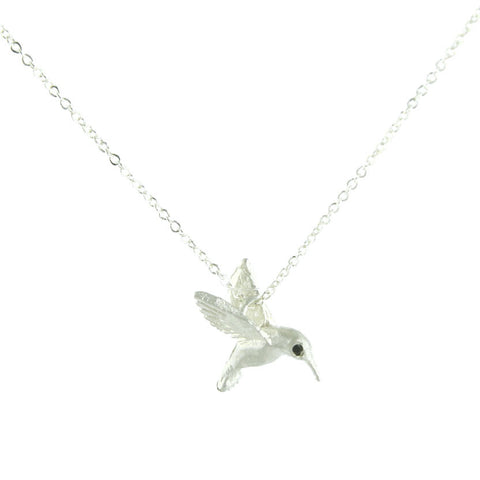 Silver Diamond Eye Hummingbird Necklace