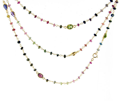 Pink Tourmaline and Other Tourmaline Long Necklace