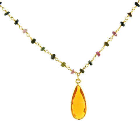 Citrine Quartz Tourmaline Necklace