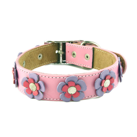 Made in the USA dog collar with pink flowers.