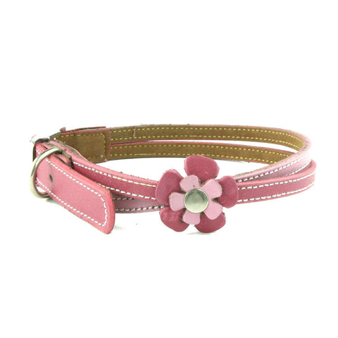American handmade pink leather dog collar with one flower
