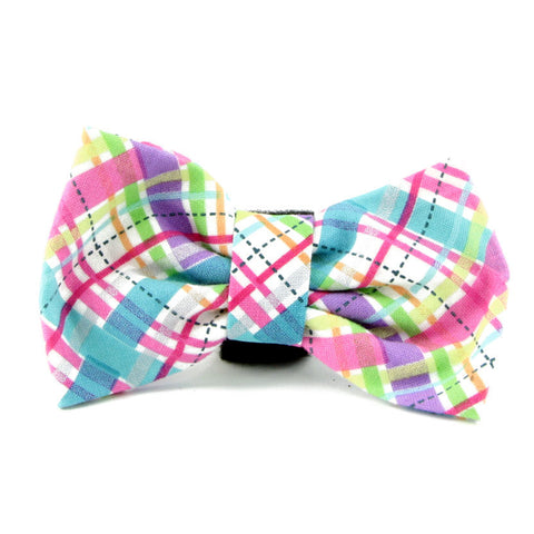Plaid dog bow tie for dog or cat - American made.