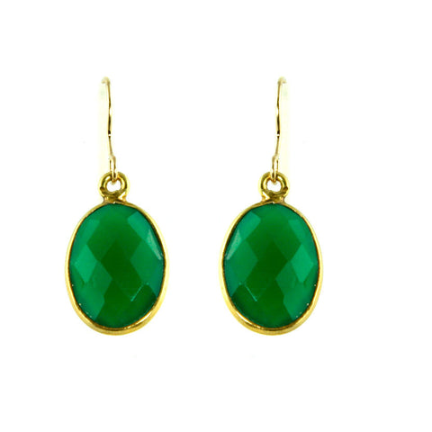 Green Onyx Emerald colored dangle earrings